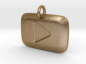 YouTube Play Button Pendant in Polished Gold Steel