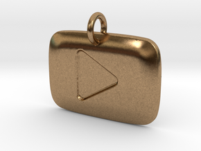 YouTube Play Button Pendant in Natural Brass