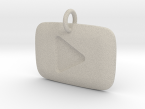 YouTube Play Button Pendant in Natural Sandstone