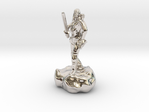 Male Halfling Bard With Rapier and Lutebow in Rhodium Plated Brass