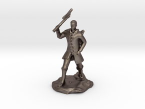 Human Ranger With Axe in Polished Bronzed Silver Steel