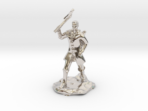 Human Ranger With Axe in Rhodium Plated Brass