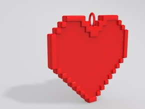 Pixel Heart Necklace Pendant or Ornament FIXED in White Natural Versatile Plastic