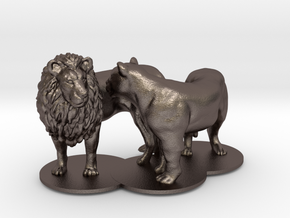 African Lion & Lioness in Polished Bronzed Silver Steel