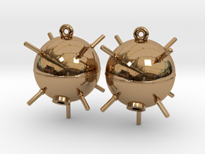Sea Mine Earrings in Polished Brass