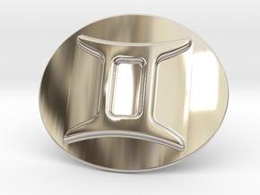 Gemini Belt Buckle in Rhodium Plated Brass