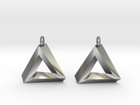 Penrose Triangle - Earrings (17mm) in Natural Silver