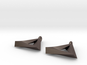 Penrose Triangle - Earrings (17mm | 2x mirrored) in Polished Bronzed Silver Steel