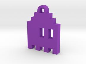 Pac Man Ghost 8-bit Earring 1 (looks right | movin in Purple Processed Versatile Plastic