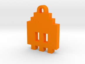 Pac Man Ghost 8-bit Earring 1 (looks down) in Orange Strong & Flexible Polished