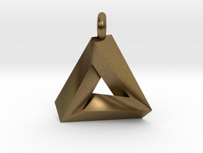 Penrose Triangle - Pendant (3cm | 3.5mm O-Ring) in Natural Bronze