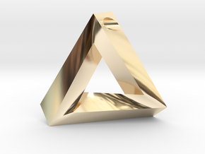 Penrose Triangle - Pendant (3.5cm | 3.5mm hole) in 14k Gold Plated Brass