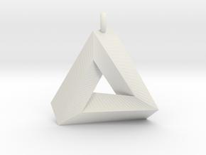 Penrose Triangle - Pendant (3cm   2.5mm O-Ring) in White Natural Versatile Plastic