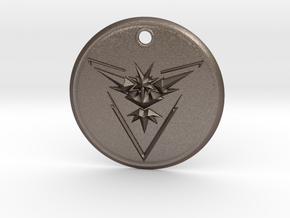 Team Instinct Pendant- Pokemon Go  in Polished Bronzed Silver Steel