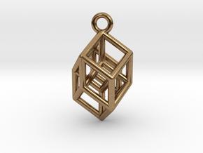 Hypercube Tesseract Pendant in Natural Brass
