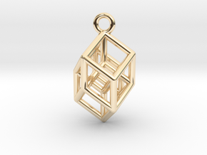 Hypercube Tesseract Pendant in 14K Yellow Gold