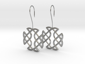 Celtic Square Cross earrings with earwire in Natural Silver