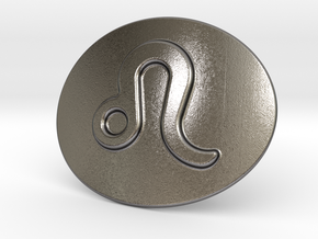 Leo Belt Buckle in Polished Nickel Steel