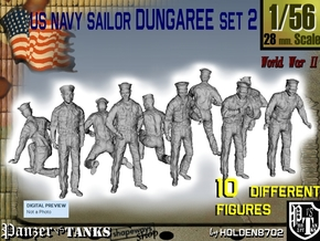 1-56 US Navy Dungaree Set 2 in Smooth Fine Detail Plastic