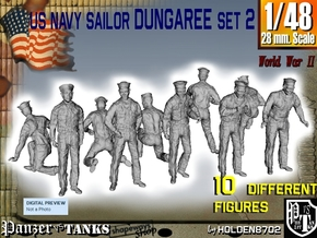 1-48 US Navy Dungaree Set 2 in Smooth Fine Detail Plastic