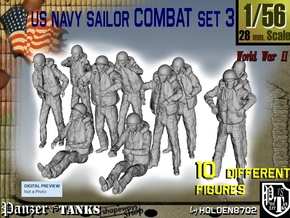 1-56 US Navy Sailors Combat SET 3 in Smooth Fine Detail Plastic