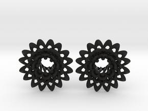 Plugs The Chrysanthemum / gauge / size 0g (8mm) in Black Natural Versatile Plastic