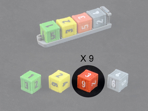 Dice / Crates - Full colour - Red (9pcs) in Full Color Sandstone