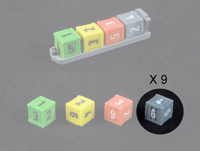 Dice / Crates - Full colour - Grey (9pcs) in Full Color Sandstone
