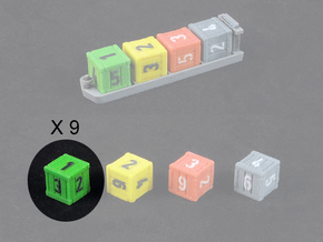 Dice / Crates - Full colour - Green (9pcs) in Full Color Sandstone