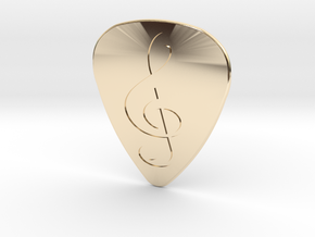 Treble Clef Plectrum - 1mm in 14K Yellow Gold