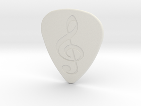 Treble Clef Plectrum - 1.5mm in White Natural Versatile Plastic
