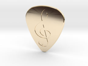 Treble Clef Plectrum - 1.5mm in 14k Gold Plated Brass