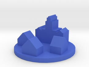 Game Piece, Colonial Town Token in Blue Processed Versatile Plastic