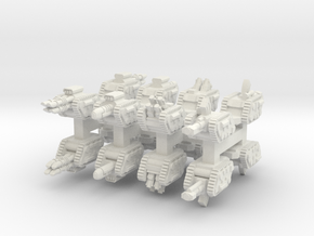 6mm Tracked Sci-Fi Infantry Guns (16pcs) in White Natural Versatile Plastic