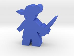 Game Piece, Musketeer, sword ready in Blue Processed Versatile Plastic