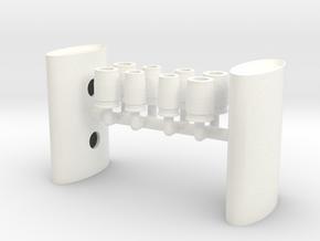 1/12 Eliptical Body Turbo Muffler in White Processed Versatile Plastic