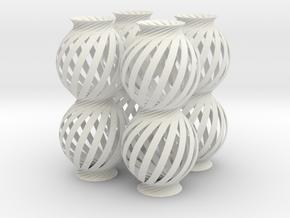 Lamp Ball Twist Spiral Column 4 Small Scale in White Natural Versatile Plastic