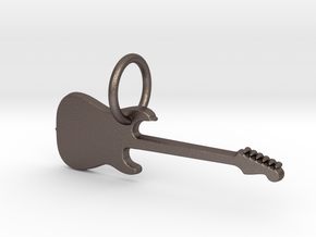 keychain_guitar1 in Polished Bronzed Silver Steel