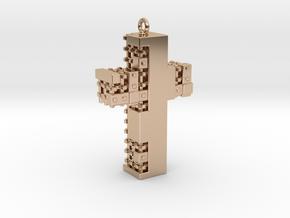Matrix Crucifix Pendant in 14k Rose Gold Plated Brass