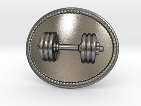 Dumbbell Belt Buckle in Polished Nickel Steel