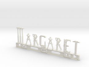 Margaret Nametag in White Natural Versatile Plastic