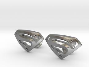 Superman Cufflinks in Natural Silver