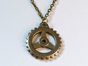 Gear Pendant - Three in Polished Bronzed Silver Steel