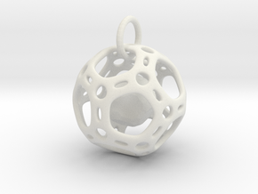 Dodecahedron inside a Dodecahedron Pendant  in White Natural Versatile Plastic