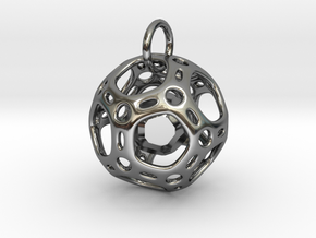 Dodecahedron inside a Dodecahedron Pendant  in Fine Detail Polished Silver