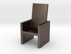 2x2 Cm Chair in Polished Bronzed Silver Steel