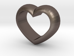 Heart Napkin Ring in Polished Bronzed Silver Steel