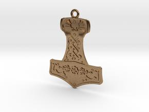 Steampunk Mjolnir Pendant in Natural Brass