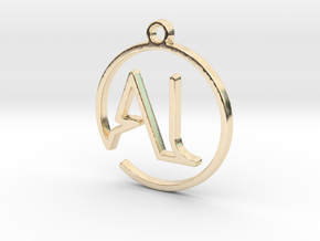 A & L Monogram Pendant in 14k Gold Plated Brass