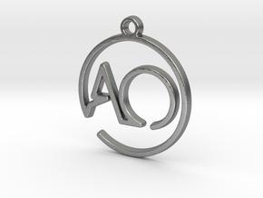 A & O Monogram Pendant in Natural Silver